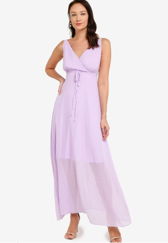 ZALORA OCCASION purple Wrap Maxi Dress 9ED22AACAB607BGS_1