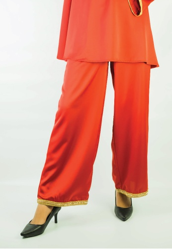 Zaryluq red Baby Doll Pants in Terracotta Red D44C8AA92AE923GS_1