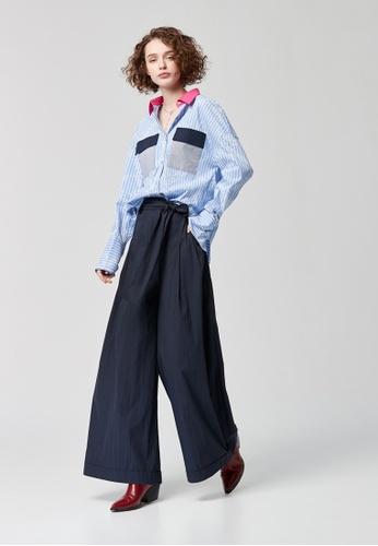 iROO blue High-Waist Trousers 1379DAA212AD96GS_1