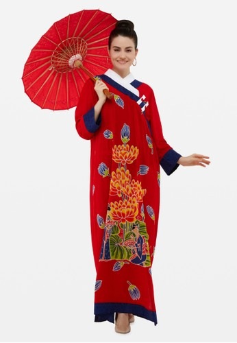 Kimore Studio red and blue Cheongsam Long Dress - Geisha n Lotus - Hand Painted Batik Tenun 3BB48AADF5396CGS_1