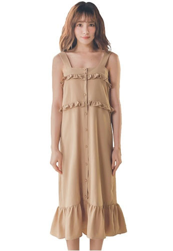 Yoco brown Sleeveless Ruffle Dress 0BE43AA78E3FC1GS_1