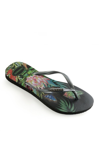 Havaianas black Slim Tropical Flip Flops 14430SH7E11315GS_1