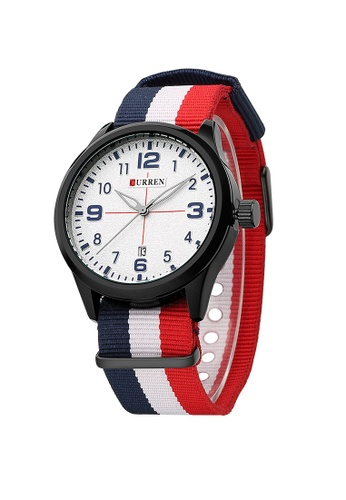 curren white and red and blue Curren 8195 Men's Sports & Casual Nylon Strap Watch (White Blue White Red ) CU537AC43VPKMY_1