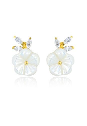 SUNRAIS gold High quality Silver S925 golden flower earrings F01B4AC4B24D3FGS_1