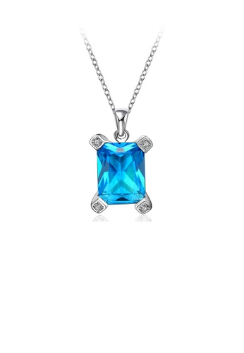 Glamorousky blue Stylish Simply Geometric Pendant with Blue Cubic Zircon and Necklace 1D1C9AC16CEC58GS_1