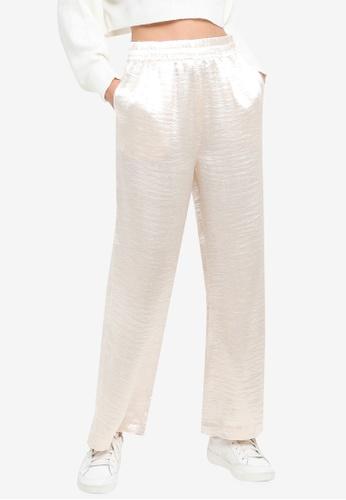 H&M beige Wide Glossy Trousers 086EAAA455EE6CGS_1