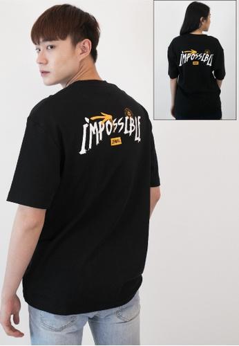 OHNII 黑色 有可能印花棉質寬鬆 T 恤衫 82D8FAA27A82E9GS_1