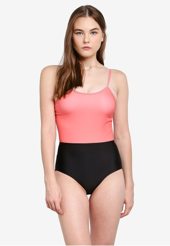 PINK N' PROPER black and pink Ae-ri Colour Block Swimsuit F5937US5054CC4GS_1