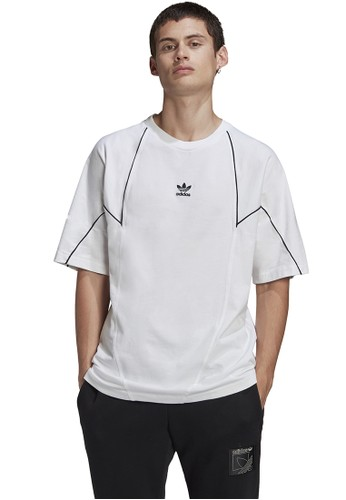 ADIDAS white big trefoil blocked t-shirt BDA13AAC15A9A0GS_1