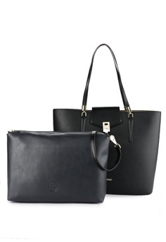 Les Catino black and multi New York Time Square Tote 4559BACA6A466FGS 1 34c9df2ae7