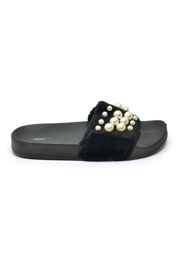 73e4fdd7d9a BNC black Fluffy Pearl Slide Sandals 6BA9BSHEF8FCA3GS 1