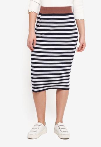 NAIN navy Multi Stripe Knit Skirt CB23CAA3C961C4GS_1