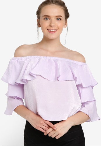 Miss Selfridge purple Petite Lilac Double Layer Blouse MI665AA67EBGMY_1