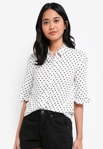 Miss Selfridge multi Heart Print Frill Sleeve Shirt D2FEBAAD4F0272GS_1