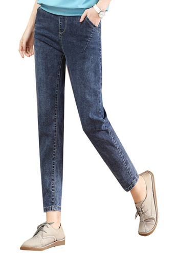 A-IN GIRLS navy Elastic Waist And Small Feet Jeans 08BB9AA5E30B9AGS_1