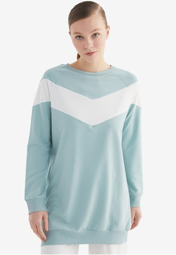 Trendyol 綠色 Panelled Knitted Sweatshirt 25AB6AABBF55D6GS_1