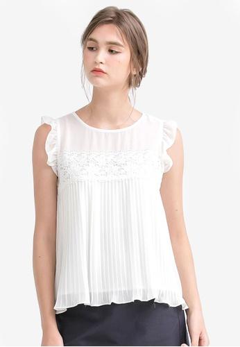Kodz white Pleated Lace Lining Blouse KO698AA0SAK8MY_1