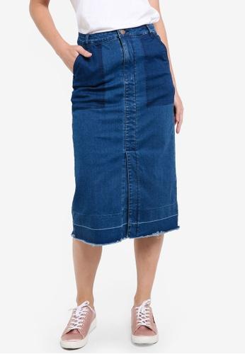 ZALORA blue Denim Contrast Pocket Midi Skirt E5AAEZZ8625091GS_1