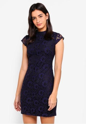 ZALORA navy Bridesmaid Lace Bodycon Dress 8279FAAF62D413GS_1