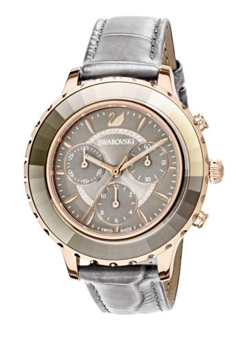 Swarovski grey Octea Lux Chrono Leather Strap Watch B2098ACAED476CGS_1