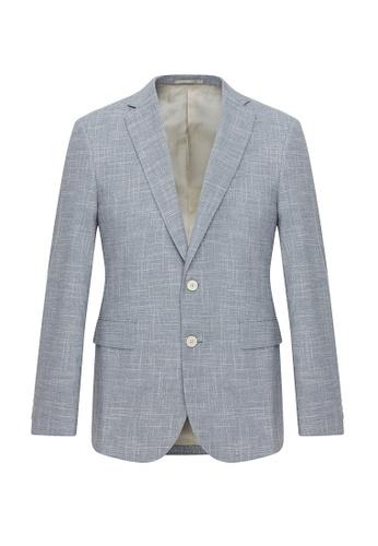 CERRUTI 1881 blue Virgin Wool Blended Blazer 87AE2AA214C9F0GS_1
