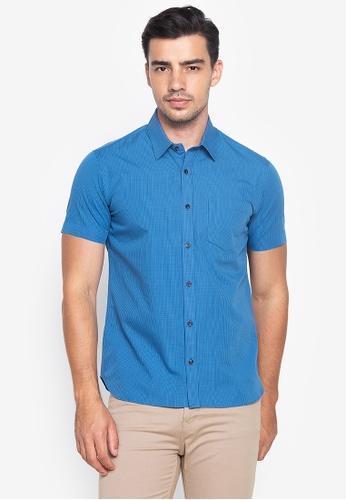 Wharton blue Casual Short Sleeves with Checkered Prints Shirt 68F36AAB0D72C5GS_1