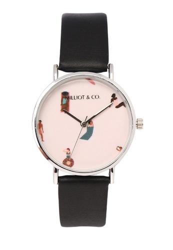 Milliot & Co. 黑色 Angel 銀 PU Strap 手錶 A0A34ACDA03046GS_1