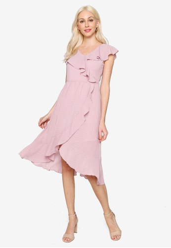 Hopeshow pink Ruffle Asymmetrical Hem Midi Dress 4A754AAA57ACC2GS_1
