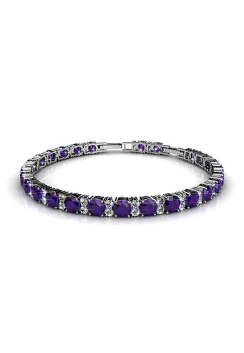 Her Jewellery purple Swarovski® Crystals - Joyous Bracelet (Purple) (18K White Gold Plated) Her Jewellery HE581AC0RDGBMY_1