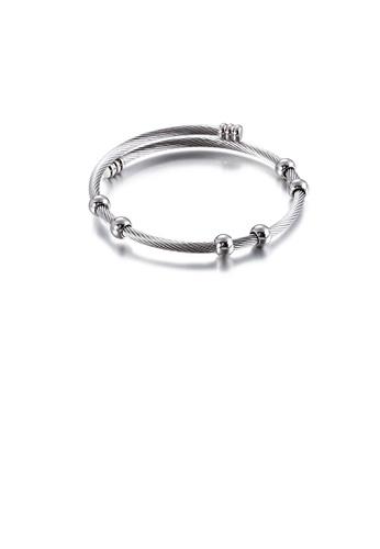 Glamorousky silver Fashion Simple Round Bead 316L Stainless Steel Bangle EC747AC5DA5C9CGS_1