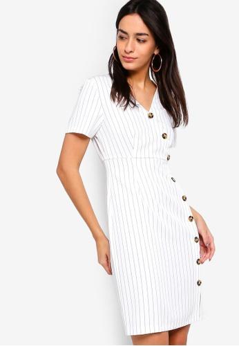 ZALORA white Button Detail Faux Wrap Dress 12D59AA3621255GS_1