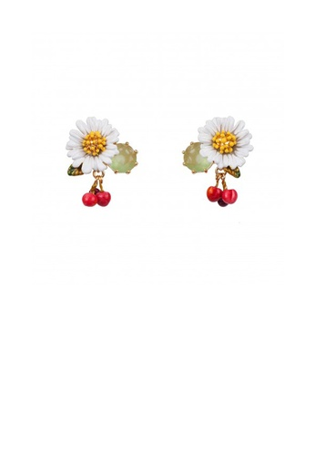 Glamorousky silver Elegant and Fashion Plated Gold Enamel Daisy Cherry Stud Earrings with Cubic Zirconia EAE2FAC2448901GS_1