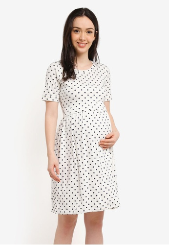 Envie De Fraise white and navy Maternity Limbo Dress A159DAA15BD39CGS_1