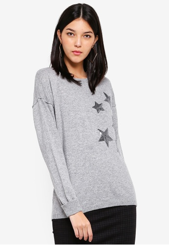 OVS grey Wool Pullover With Star Sequins 1432EAAAE62E9EGS_1