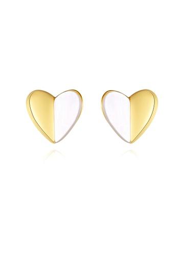 SUNRAIS gold High quality Silver S925 golden heart earrings 9D2FCAC1991FDBGS_1