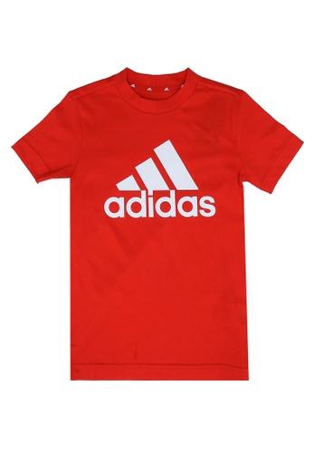 ADIDAS red boys essentials big logo tee 7549FKAF949B93GS_1