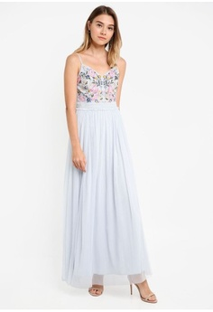 79252189392 Psst... we have already received your request. French Connection. Genoa  Embroidered Strappy V Nk Maxi Dress