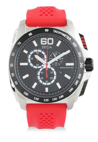 ZECA red Zeca Watches Men Fashion Rubber Chronograph - 247M Red 1E0E4AC7A98FF8GS_1