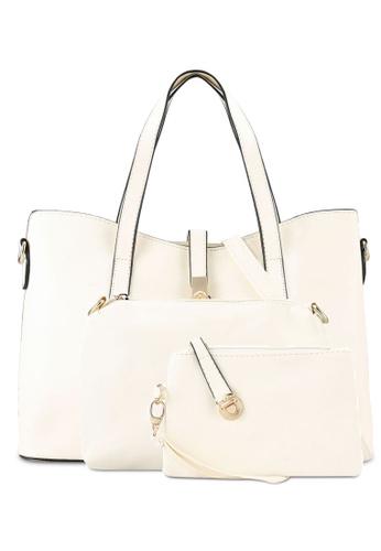 Bagstationz beige Faux Leather Tote Bag Set BA607AC0RNPLMY_1