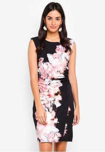 Wallis black Black Floral Print Side Wrap Dress 1981CAA60415CAGS_1