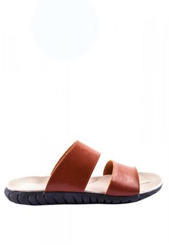 Otto brown Double Strap Slider Sandals 5CF4ASH9D0D08DGS_1
