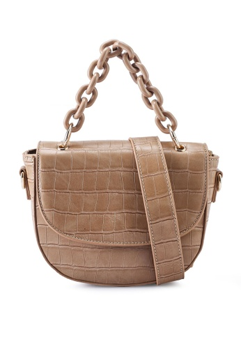 Red's Revenge beige Cara Croc Chain Link Top Handle Bag 42338ACD1A4117GS_1