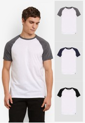 Burton Menswear London white 3 Pack Raglan T-Shirts BU964AA0S7EWMY_1