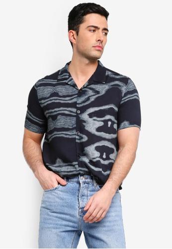 Topman black Black Marble Revere Shirt 8A39CAA028562EGS_1