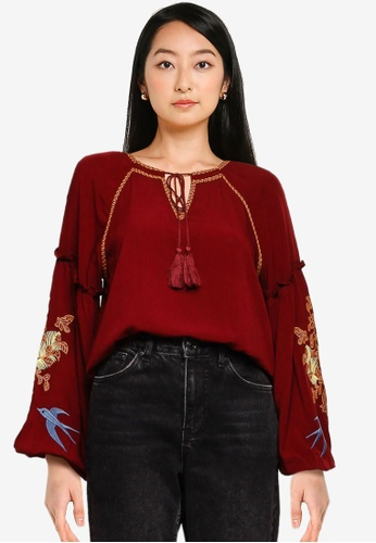 ZALORA BASICS red Embroidered Sleeves Top E4D91AA019698DGS_1