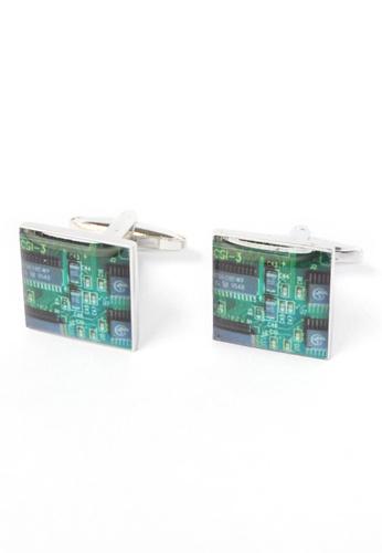 Splice Cufflinks green Green Circuitboard Cufflinks SP744AC92CPRSG_1