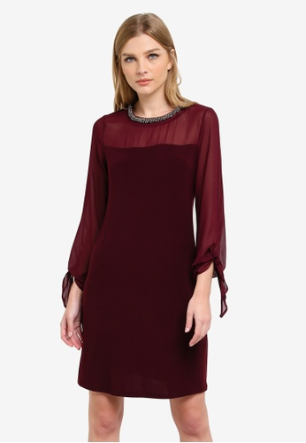 Wallis red Berry Tie Sleeve Embellished Neck Dress WA800AA0S6T9MY_1