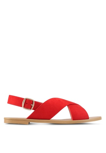 ZALORA 紅色 Cross Strap Sandals 4AB67SH25F23A6GS_1
