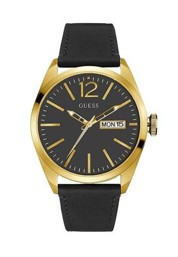 Guess Vertigo Gold And Black Leather Watch