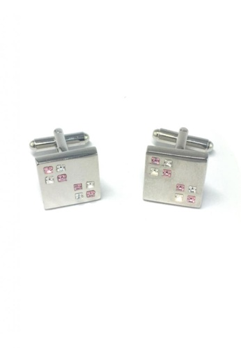 Splice Cufflinks silver Pink and White Small Crystals Square Cufflinks  SP744AC53EMWSG_1